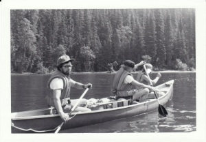 Art (far left) paddling on a Bowron Lake