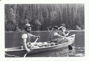Art (far left) paddling on a Bowron Lake