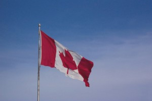 Canadian flag, blowing in the wind