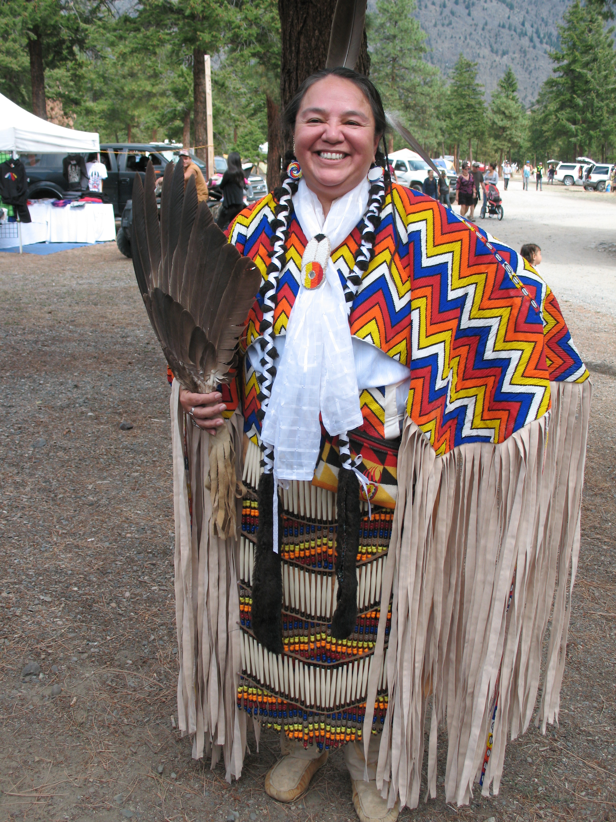"""Smiling Fawn Sound Woman, a mother & grandmother, who said """"The Pow Wow is a way of teaching the children our traditions."""""""
