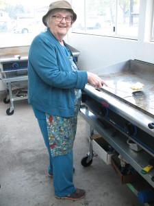 Margaret Skaar, cooking eggs for the Hedley Seniors' pancake breakfast.
