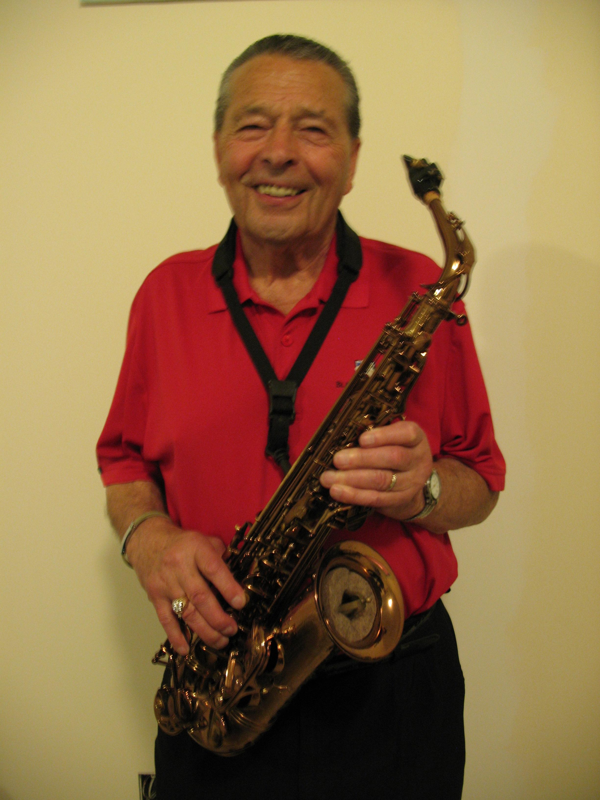 Garry Jespersen enjoys playing his sax