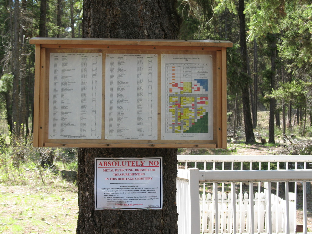 Bob & Diane Sterne posted a map of the Granite Creek cemetery.