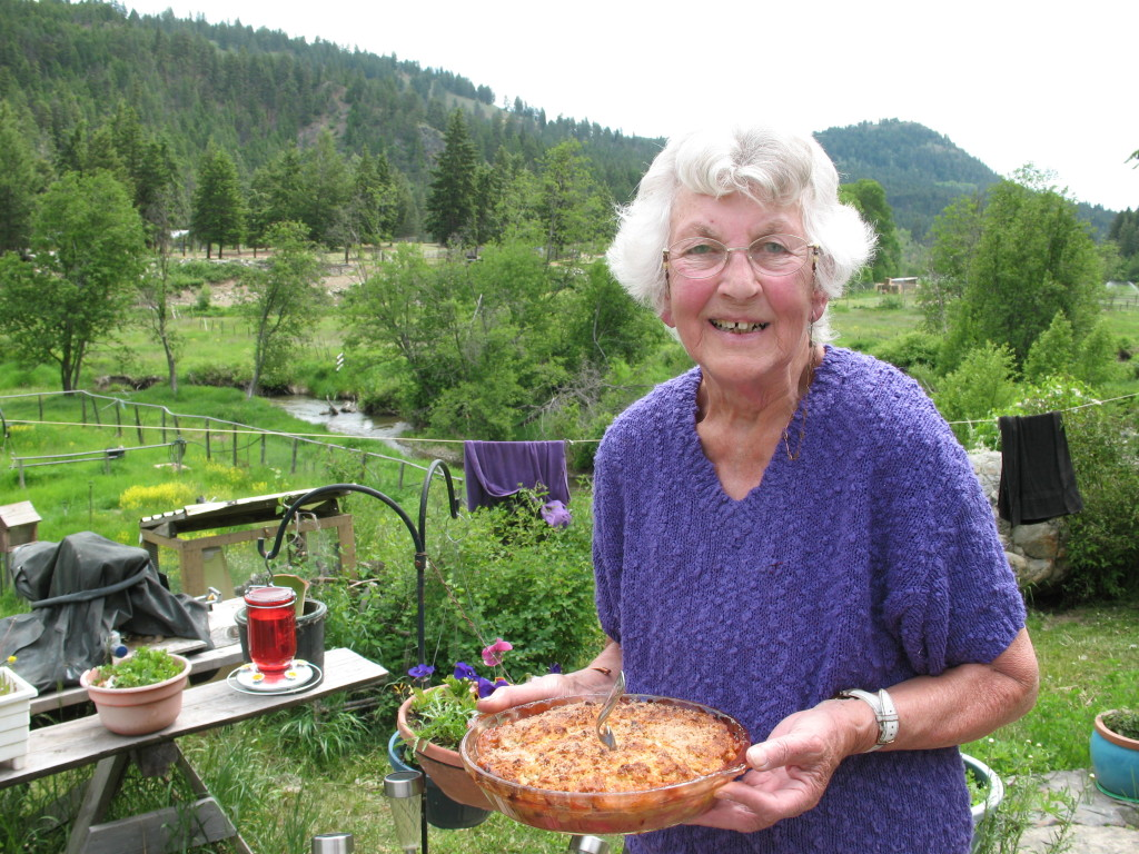 Laila Bird holding the rhubarb crisp, which she later served us with ice cream