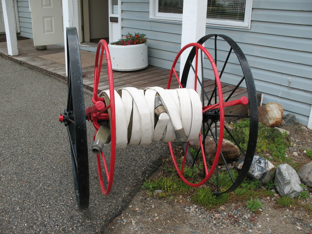 Fire hose pull cart - the first one didn't look as attractive as this one.