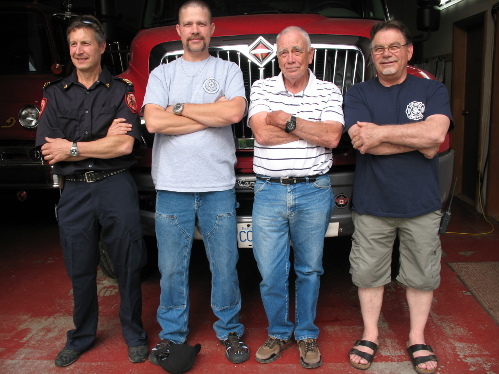 Doug Nimchuk Assistant Fire Chief, Terry McFarlane Fire Chief, Graham Gore retiring FD Manager, Derek Lilly former Fire Chief