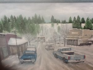 Painting by Harvey Donahue of Princeton Bridge, with his Dodge pickup in the foreground.