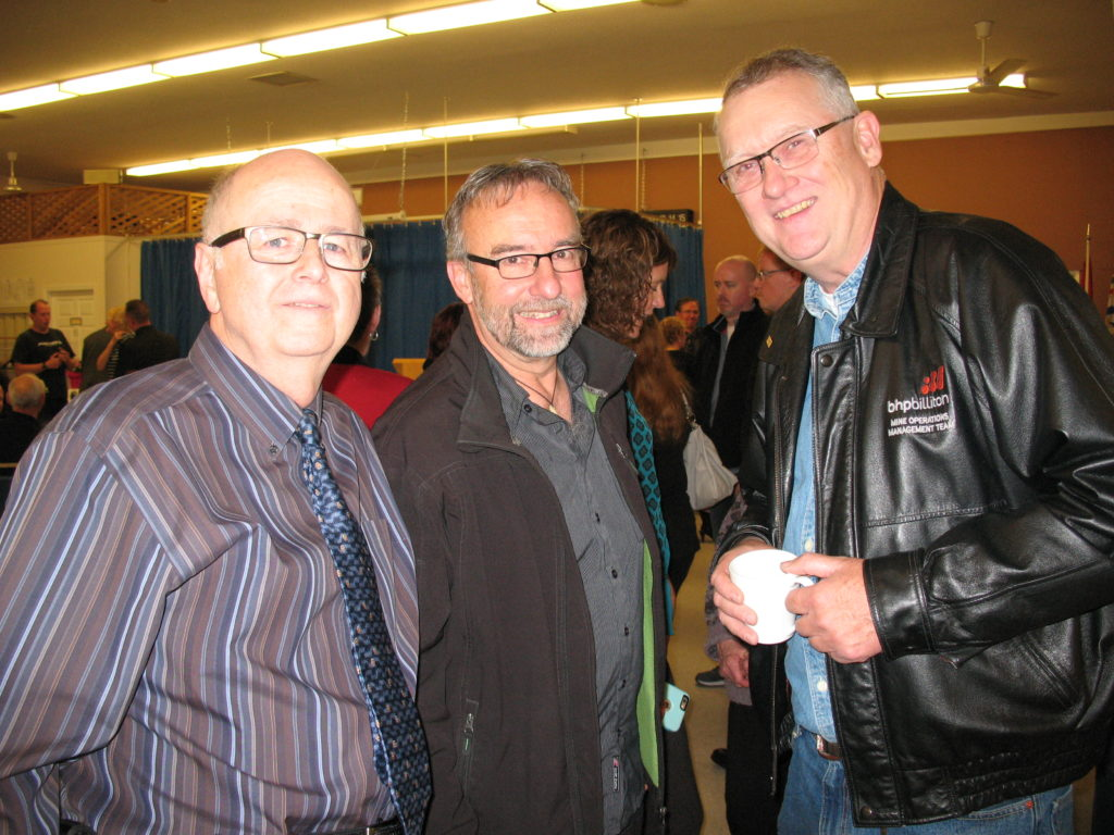 Gary Clarke, Del Riemer, Jim Martin, 3 of the many former staff that attended the Celebration of Life on Oct. 29, 2016