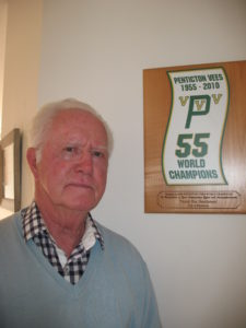 Ivan with a plaque presented by City of Penticton in 1955 to the 6 members of the team still alive at that time.