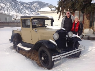 Gordon & Sam with the 1930 Model A in winter.