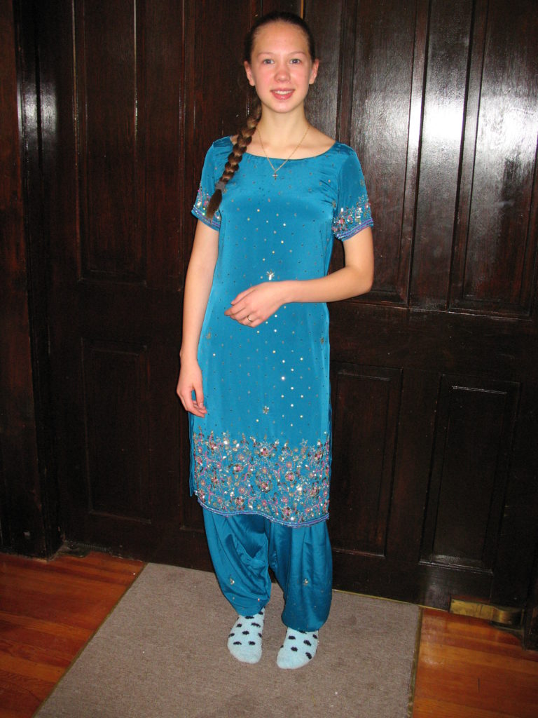 Ayrelea dressed in her salwar kameez.