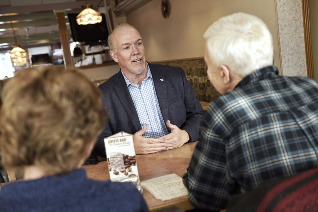 "In conversation with John Horgan in the ""Shades on Main"" Penticton restaurant."