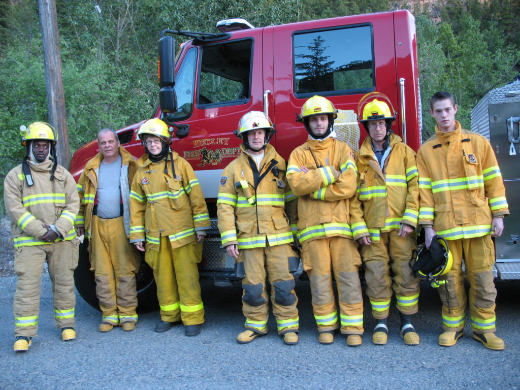 Some members of the Hedley Fire Department at practise (Larry McIntosh not on this photo).